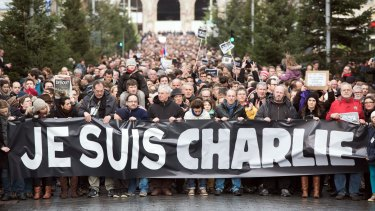 "The attack on the satirical magazine spawned the slogan ""Je Suis Charlie"" (I am Charlie)."