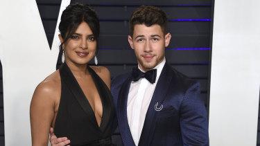Priyanka Chopra and Nick Jonas at the Vanity Fair Oscar party.