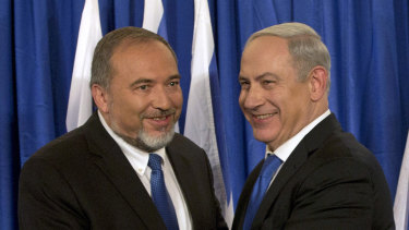 Israeli Prime Minister Benjamin Netanyahu, right, and former Israeli Defence Minister Avigdor Lieberman  in 2012.
