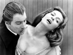 Barbara Shelley with Christopher Lee in the 1966 film <i>Dracula: Prince of Darkness<i>.