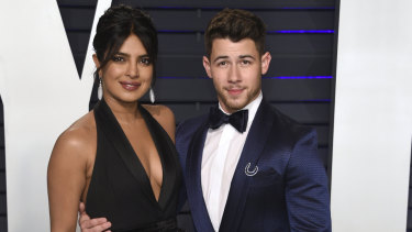 Priyanka Chopra and Nick Jonas at the Vanity Fair Oscar party.