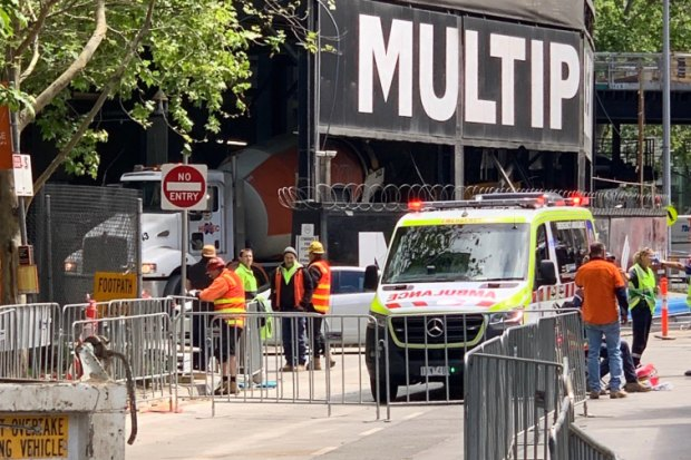 Ambulances at the scene of a pipe explosion in South Bank on Saturday.