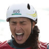 Dream come true: Jessica Fox celebrates her gold medal in the C1 at Tokyo.