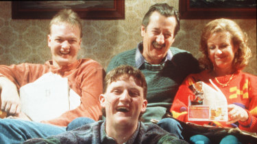 Laugh along with the Kerrigans (from left) Steve (Anthony Simcoe), Dale (Stephen Curry), Darryl (Michael Caton) and Sal (Anne Tenney) in The Castle.