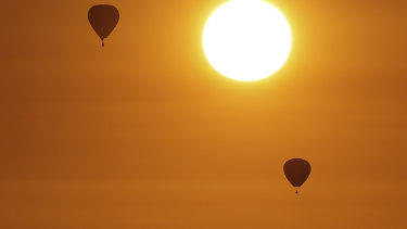 Hot air balloons during sunrise over Canberra during day two of the Balloon Spectacular festival, in March last year.