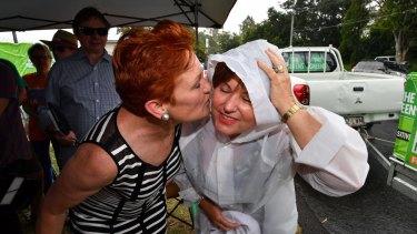 One Nation leader Senator Pauline Hanson (left) with Jo-Ann Miller.