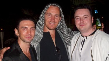 Henry Kaye, Jamie McIntyre and another associate at a fancy dress party.