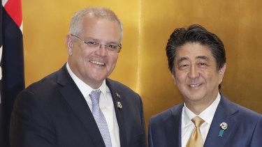 Australian Prime Minister Scott Morrison and Japanese Prime Minister Shinzo Abe.