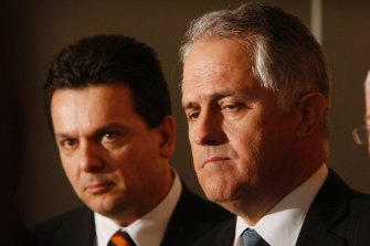 Former prime minister Malcolm Turnbull, pictured with Nick Xenophon in 2009, suggests the former senator is being employed by Huawei for more than just his legal expertise.