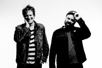Guitarists Jimmy Hartridge, left, and Adam Franklin from English band Swervedriver.