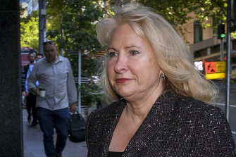 Former Liberal state MP Lorraine Wreford arrives on Wednesday at IBAC's hearings into land dealings at Casey Council.