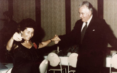 Dorothy Fuller Greek dancing with the late Hon. Gough Whitlam