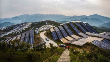 Solar PV panels in China's Fujian province.