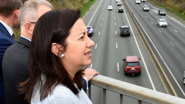 Premier Annastacia Palaszczuk above the Pacific Motorway in 2017.