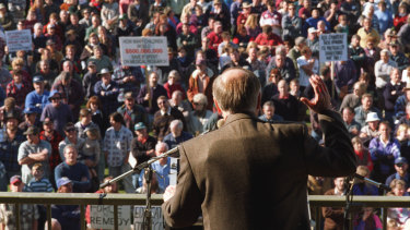 John Howard addresses gun owners following the Port Arthur massacre. He is wearing a bullet-proof vest under his suit.