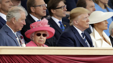 Prince Charles, the Queen, US President Donald Trump and US first lady Melania Trump attend an event to mark the 75th anniversary of D-Day in Portsmouth.