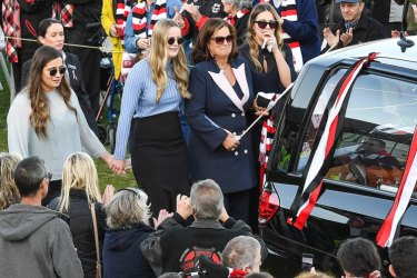 Danny's family and the hearse makes final lap of honour of Moorabbin oval-  Memorial service /Funeral of former St Kilda player Danny Frawley . 18th September 2019 The Age News Picture by JOE ARMAO