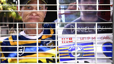 An Eels fan is locked out of Suncorp Stadium.
