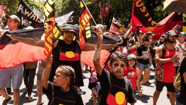 The Invasion Day march in Sydney on January 26 last year.