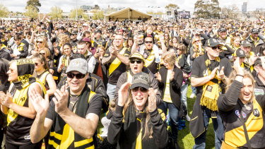 Tiger faithful celebrate premiership success at Punt Road.