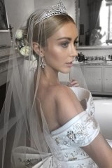 Jaimee Belle Gardner in her diamond tiara before marrying James Kennedy in Italy.