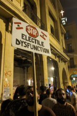 One of the less bawdy placards featured in the Lebanon street protests.