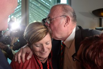 Warren Entsch and marriage equality campaigner Christine Forster celebrate in Parliament as the same-sex marriage bill is passed in 2017.