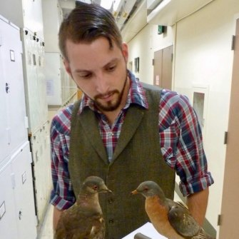 Ben Novak with Martha, the last passenger pigeon, preserved with another of her species. Her death in 1914 galvanised America's conservation movement.