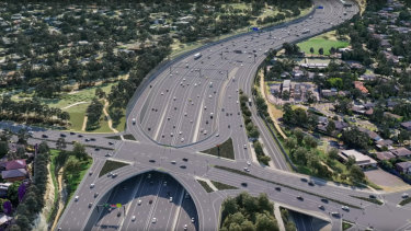 An artist's impression of the widened Eastern Freeway in Doncaster and North Balwyn.