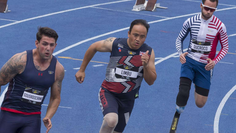 Competitors in the men's 200m of the Invictus Games, in Sydney last week.
