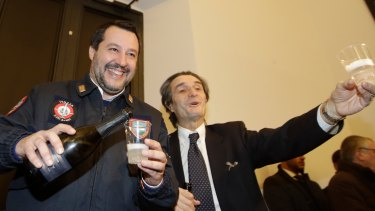 Matteo Salvini, the Italian interior minister, left, in Milan last month. His rise to power has become a parable of the modern social media age.