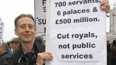 Anti-monarchist Peter Tatchell demonstrates at the 2012 royal jubilee.