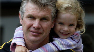 Frawley with daughter Keeley then aged three and a half in 2004.