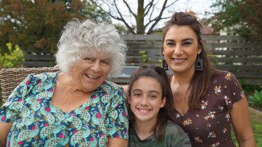 Miriam Margolyes with Kaiaan Somerville and Lidia Thorpe.