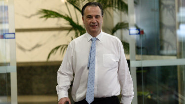 ARLC chairman Peter V'landys leaving Racing NSW Headquarters last week.