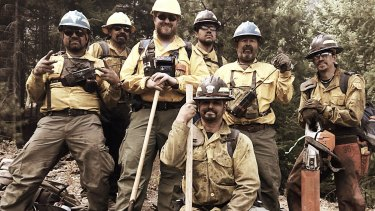 RFS firefighter Daniel Barwick, third from left, with colleagues in Washington state.