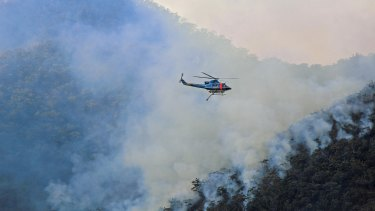 A helicopter waterbombing fires further south at Bemboka.