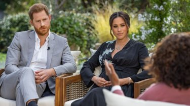 The Duke and Duchess of Sussex talk to Oprah Winfrey.