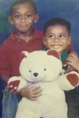 They've come a long way: Josh and Samu Kerevi at ages four and five.