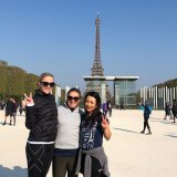 Alice Whyte, Mary Dullard and Lan Leung near the Eiffel Tower on Sunday.