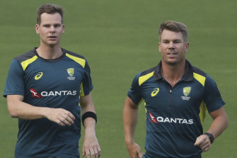 Steve Smith, left, and David Warner, right, at training in India.