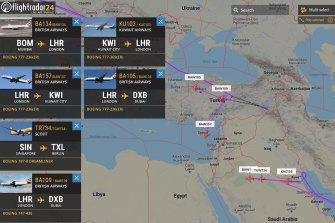 FlightRadar24 shows British Airways B777 diverting midflight and landing it Turkey to avoid flying over Iran.