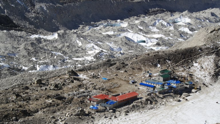Waste dump: Gorak Shep with part of Khumbu Glacier in the background.