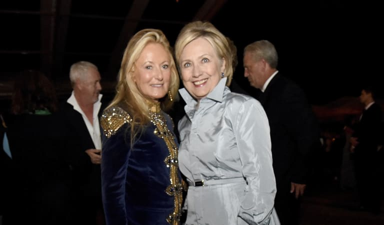 Former Secretary of State Hillary Clinton, right, and Ricky Lauren pose for a photo after the Ralph Lauren 50th Anniversary Fashion Show is shown during New York Fashion Week on Friday, September 7, 2018.