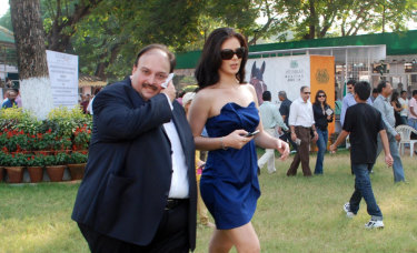 Modi's uncle and co-accused, Mehul Choksi, with Bollywood actress Urvashi Sharma.