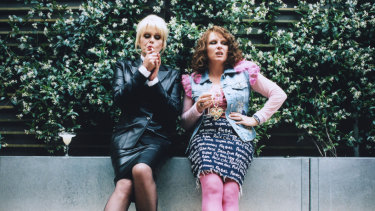 With Jennifer Saunders in Absolutely Fabulous, 1992.