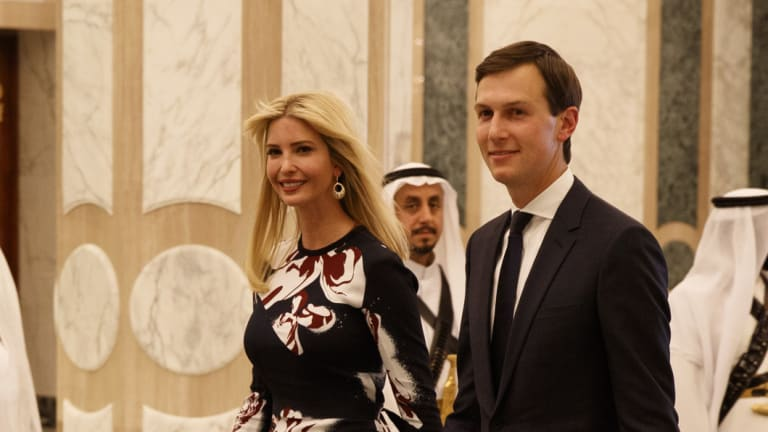 White House senior adviser Jared Kushner, right, walks with Ivanka Trump at the Royal Court Palace, in Riyadh, Saudi Arabia, on May 20, 2017, a visit opposed by many in the Trump administration including then Secretary of State Rex Tillerson.