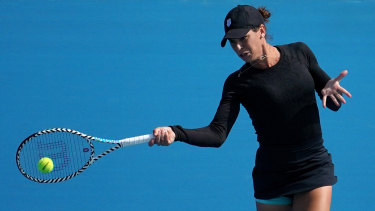 Ajla Tomljanovic beat Maria Sharapova at Kooyong on Thursday.