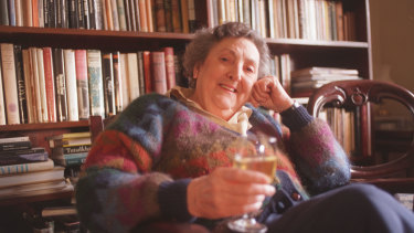 Eleanor Witcombe with white wine - red wine, she said, excited her asthma.