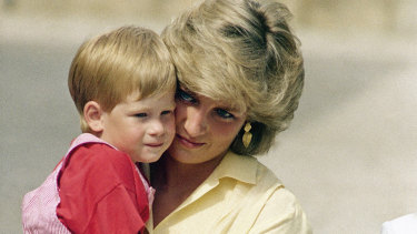 Prince Harry with his mother, Princess Diana, in 1987.